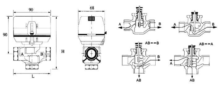外形及剖面图; 电动二通阀图片