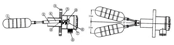 当浮球因浮力作用而上下运动时,接线盒内的磁簧开关(或微动开关)受到
